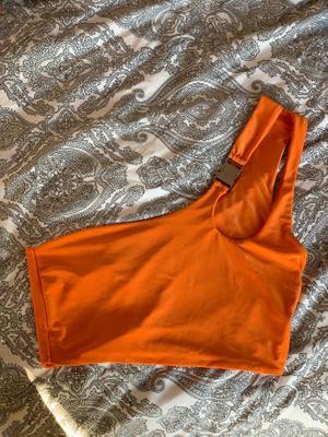 Cropped One Shoulder Orange Top