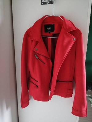 Red suède jacket, size M