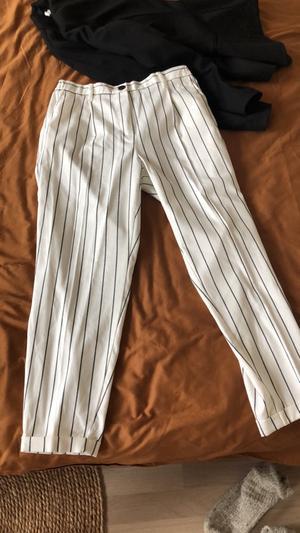 Nieuwe witte krijtstreep broek 7/8 lengte