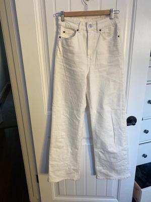 white flare leg jeans