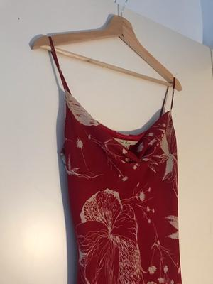 Asymmetrical red summer dress