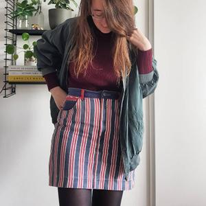 Striped skirt denim