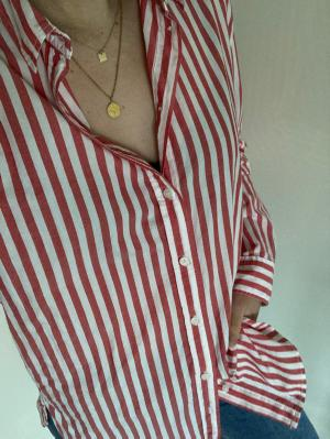 Red & White striped blouse