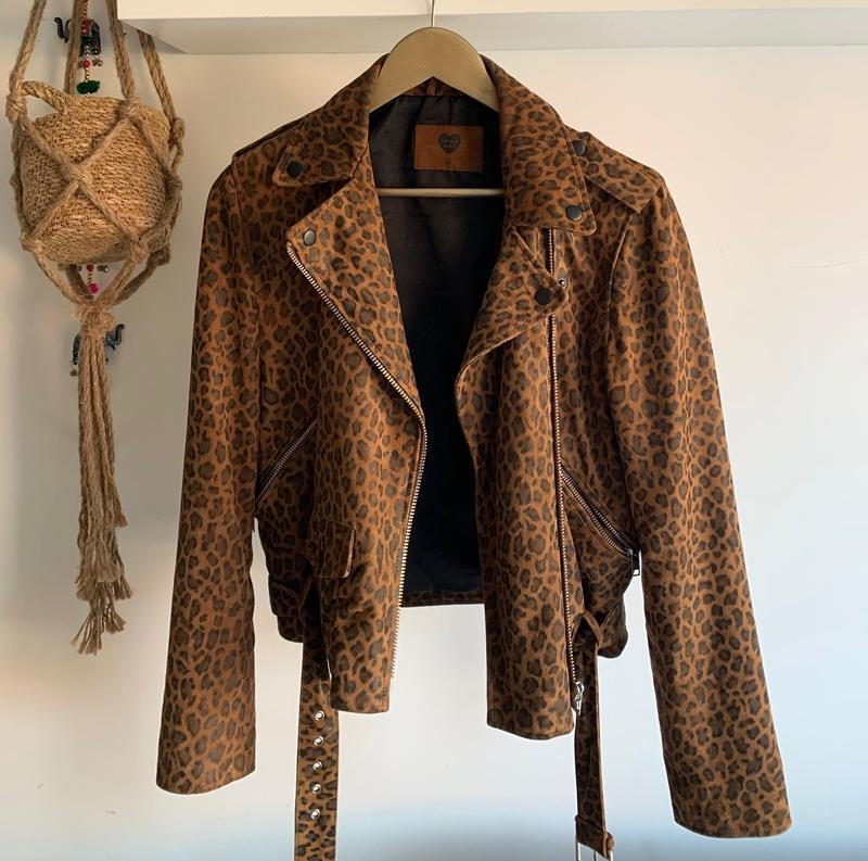 Real Leopard Leather Jacket