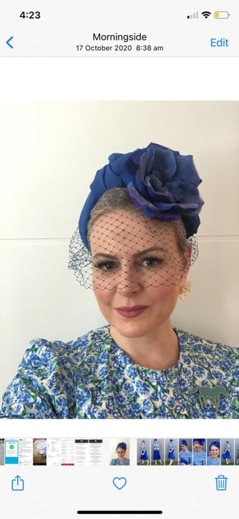 Blue headband with netting