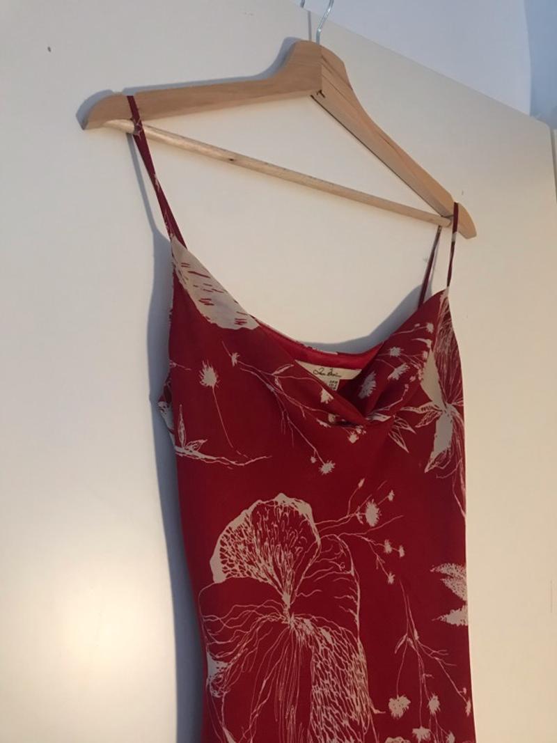 Asymmetrical red summer dress
