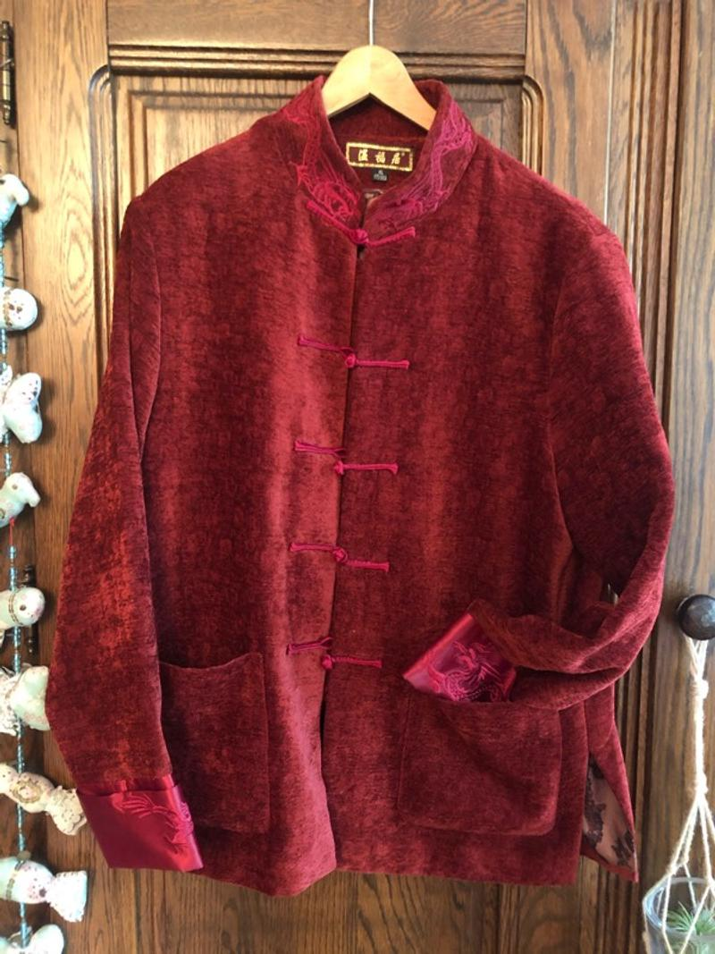 Vintage Asian dark red jacket