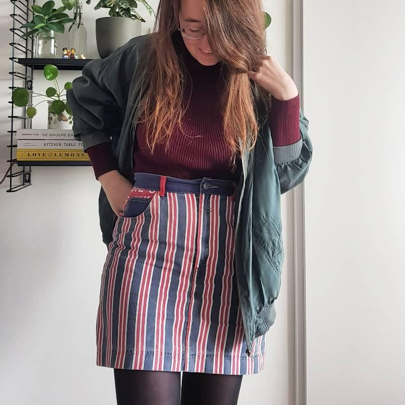 Striped skirt denim