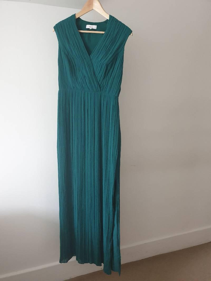 Reiss bright emirald evening maxi dress