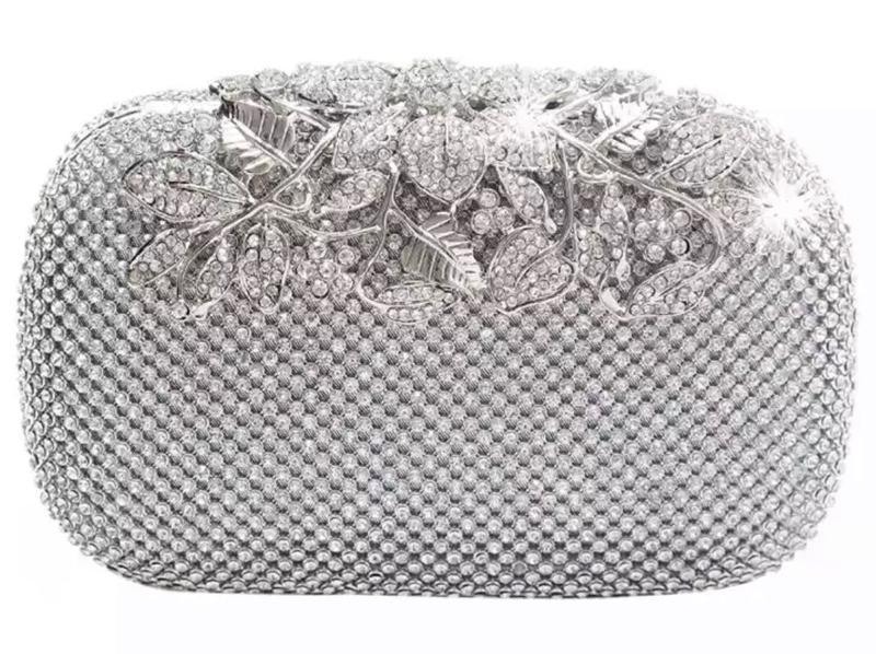 Silver crystal clutch