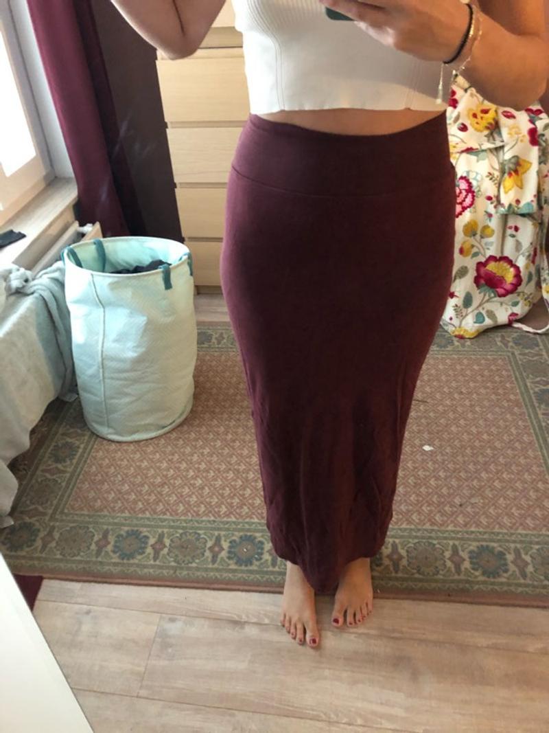 Dark long red skirt